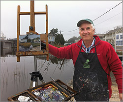 photo of artist Bill Farnsworth working outside