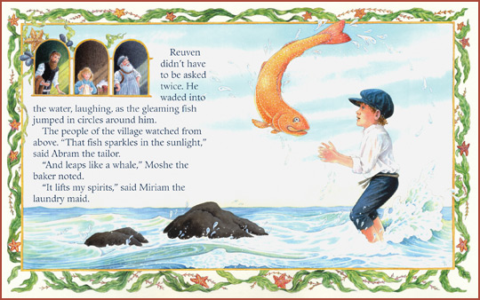 "a sample page-spread from the book ""The Generous Fish"", by Jacqueline Jules and Frances Tyrrell"