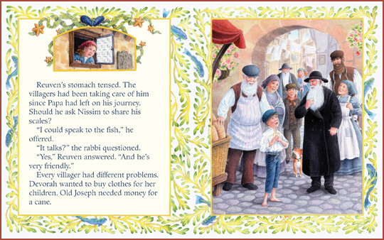 "another sample page-spread from the book ""The Generous Fish"", by Jacqueline Jules and Frances Tyrrell"