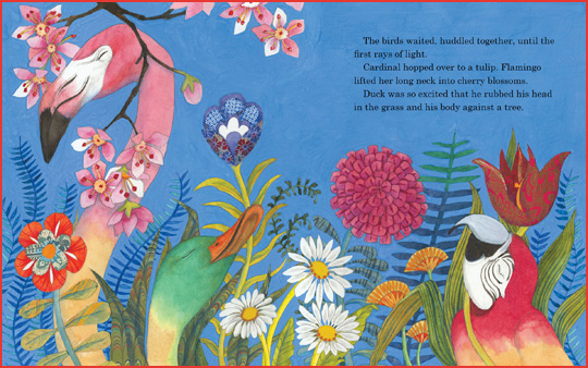 "A sample spread from the book ""Feathers for Peacock"", written by Jacqueline Jules and illustrated by Helen Cann"