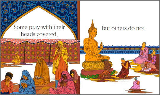 "Pages 20-11 from the book ""Everyone Prays"", written by Alexis York Lumbard and illustrated by Alireza Sadeghian"