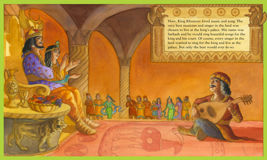 "sample page spread from the book ""The Green Musician"", written by Mahvash Shahegh and illustrated by Claire Ewart"