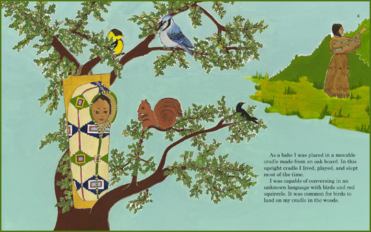 "A sample spread from the book ""Indian Boyhood"", written by Charles Eastman (Ohiyesa), edited by Michael Oren Fitzgerald, and illustrated by Heidi M. Rasch"