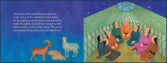 "Pages 20-11 from the book ""Story of the Mongolian Tent House"", written by Anne Pellowski and illustrated by Beatriz Vidal"