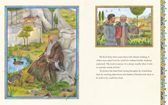 "sample spread from the book ""Saint Anthony the Great"", by John Chryssavgis and Marilyn Rouvelas and illustrated by Isabelle Brent"