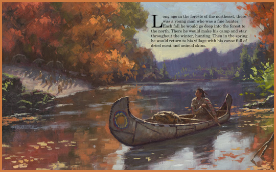 "sample page spread from the book ""The Hunter's Promise"", written by Joseph Bruchac and illustrated by Bill Farnsworth"