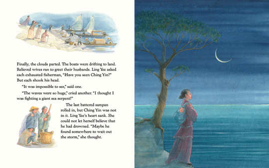 "sample spread from the book ""The Rock Maiden"", by Natasha Yim and illustrated by Pirkko Vainio"