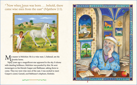 "A sample spread from the book ""The Christmas Horse and the Three Wise Men"", written and illustrated by Isabelle Brent"